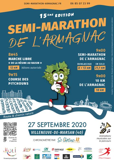 Affiche Semi-marathon de l'Armagnac 2020